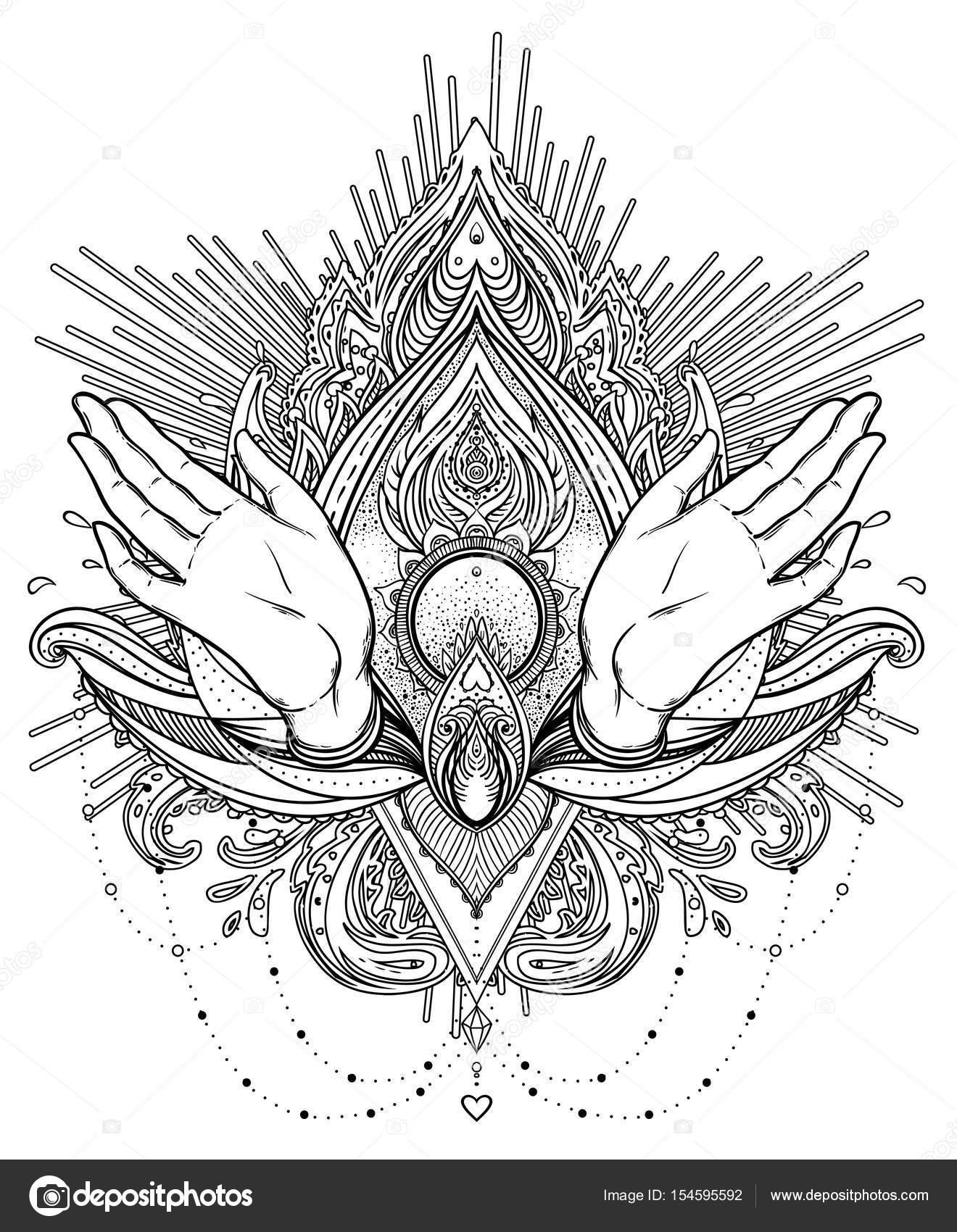 Vectores ornamentales Lotus flor y rezando manos, estampado Indi ...