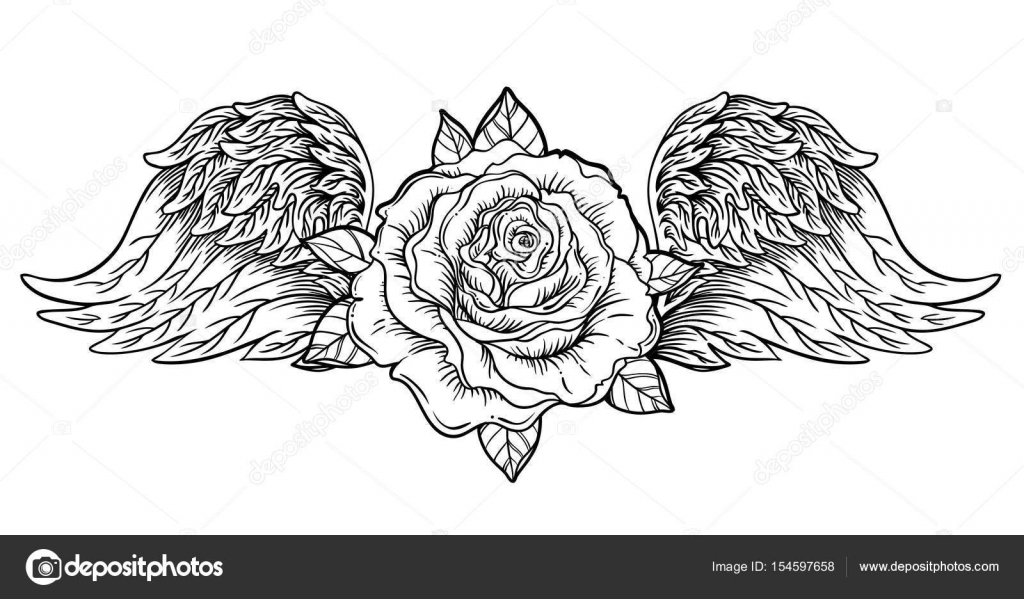 Rose Flower With Angel Or Bird Wings Blackwork Tattoo Flash Vi