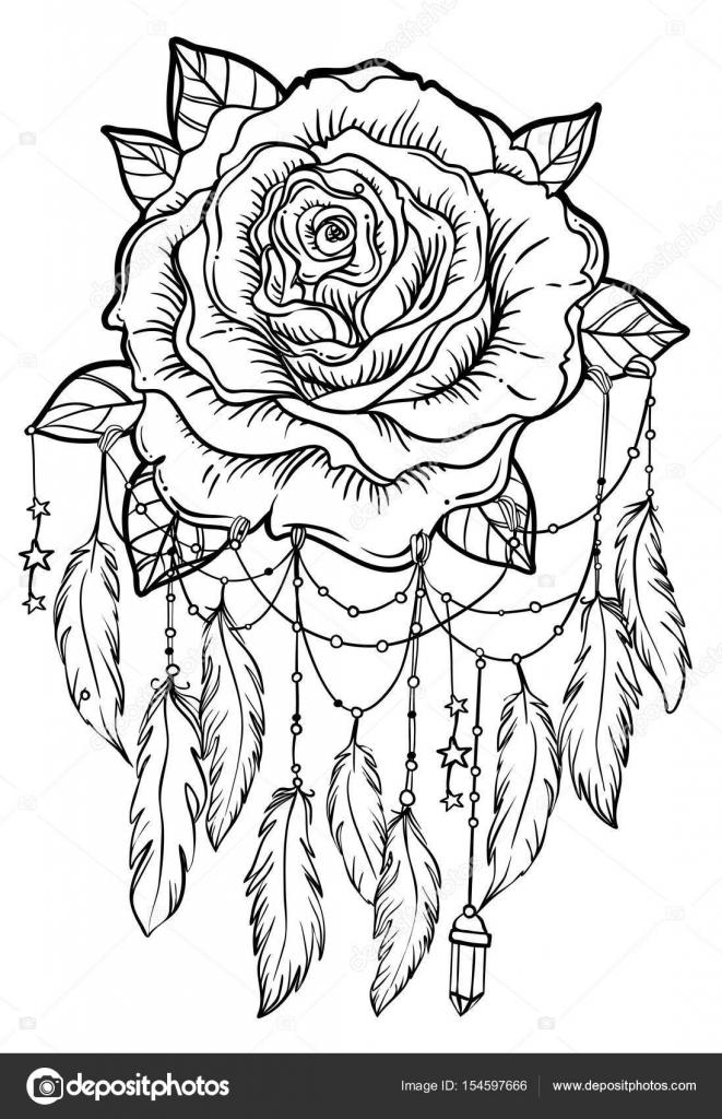 Atrapasueños Con Flor Color De Rosa Detallada Vector Ilustración