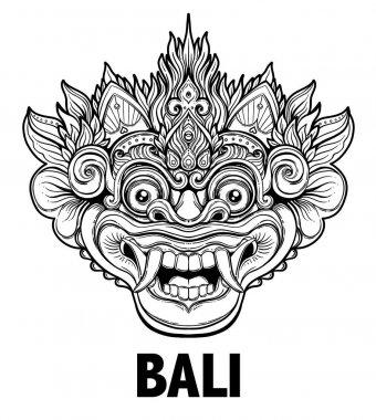Barong. Traditional ritual Balinese mask. Vector decorative orna