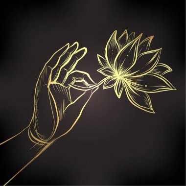 Lord Buddha's hand holding Lotus flower. Vector illustration of