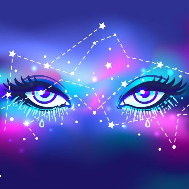 Galaxy in your eye. Vector bright colorful cosmos background. Ma