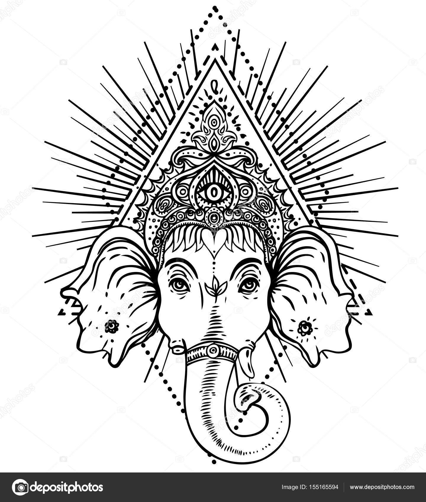 Señor hindú Ganesha sobre patrón mandala recargado. Vector illustrat ...