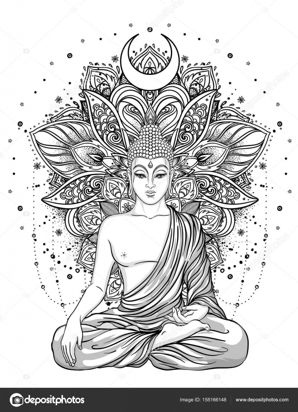 Sentada a Buddha adornado flor color de rosa. Vector vintage ...