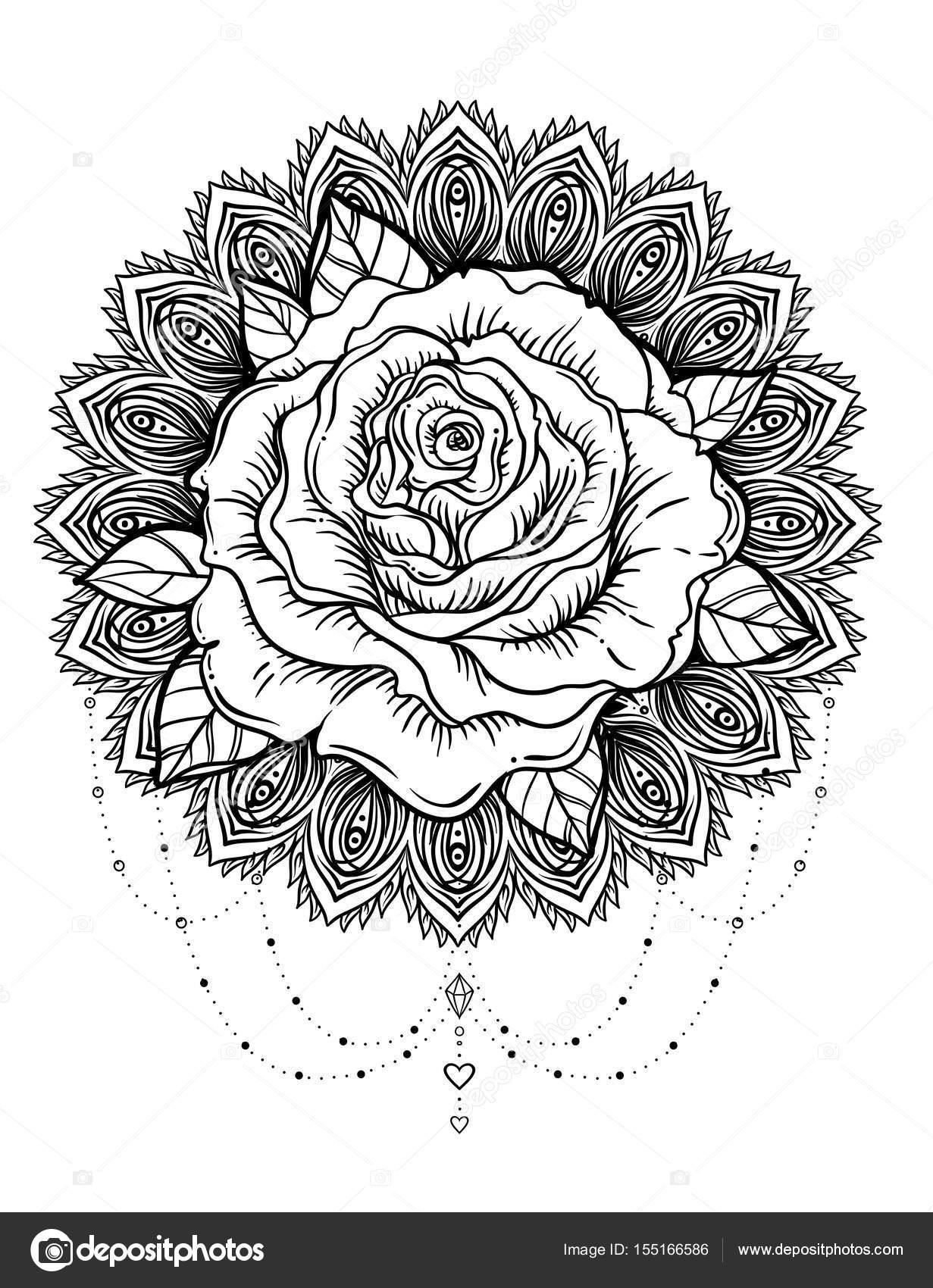 Flor rosa dibujada mano sobre mandala Patrón redondo adornado ...