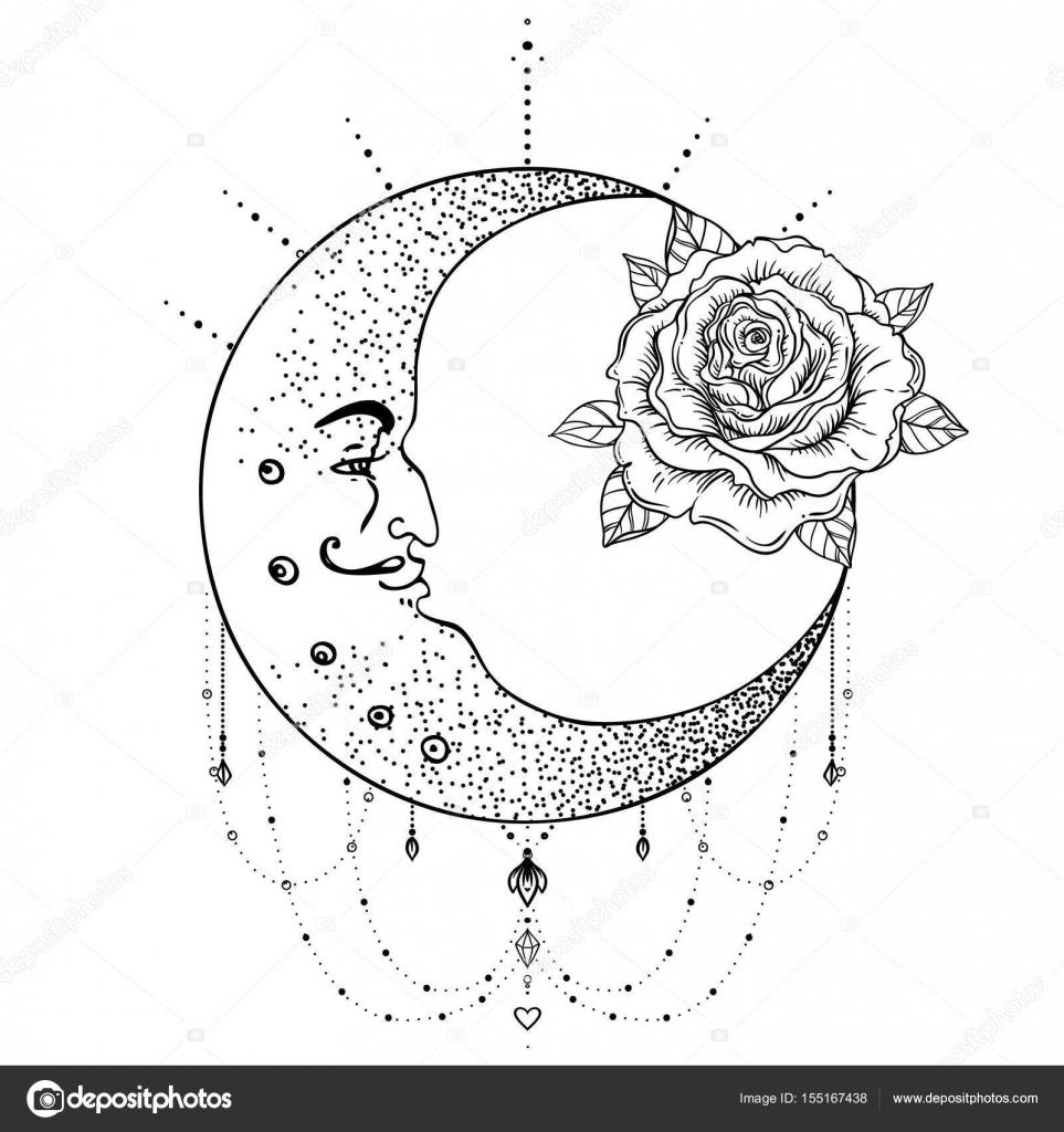 Hilal Ay Gül çiçek Kutsal Geometri Siyahişi Dövme Fl Stok