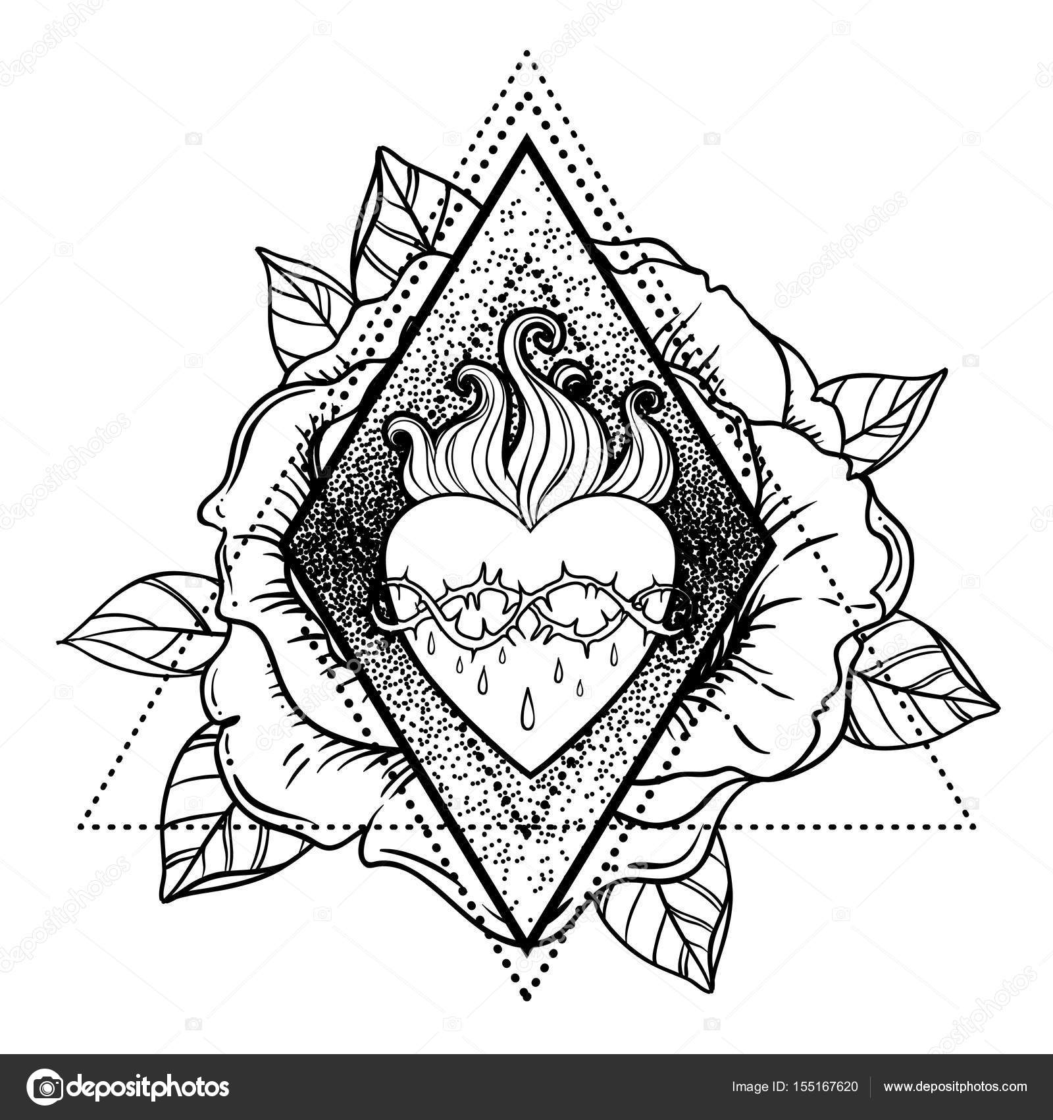 Sagrado corazón de Jesús. Ilustración de vector aislado en ove ...