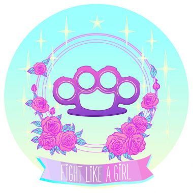 Fight like a girl. Pink glamour brass knuckles in floral frame.