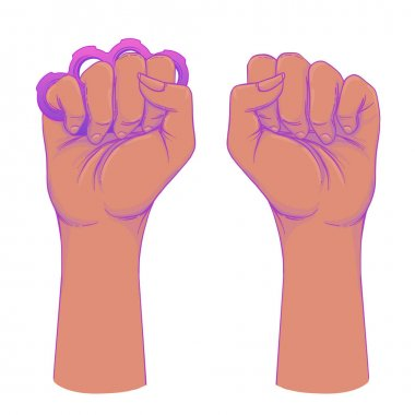 African American Woman's hand with her fist raised up. Girl Powe
