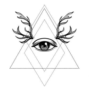 All seeing eye symbol over rose flower and deer antlers. Sacred