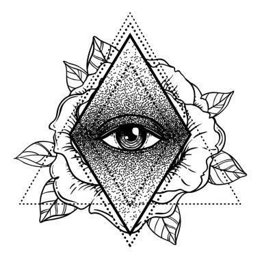 Rosicrucianism symbol. Blackwork tattoo flash. All seeing eye, C