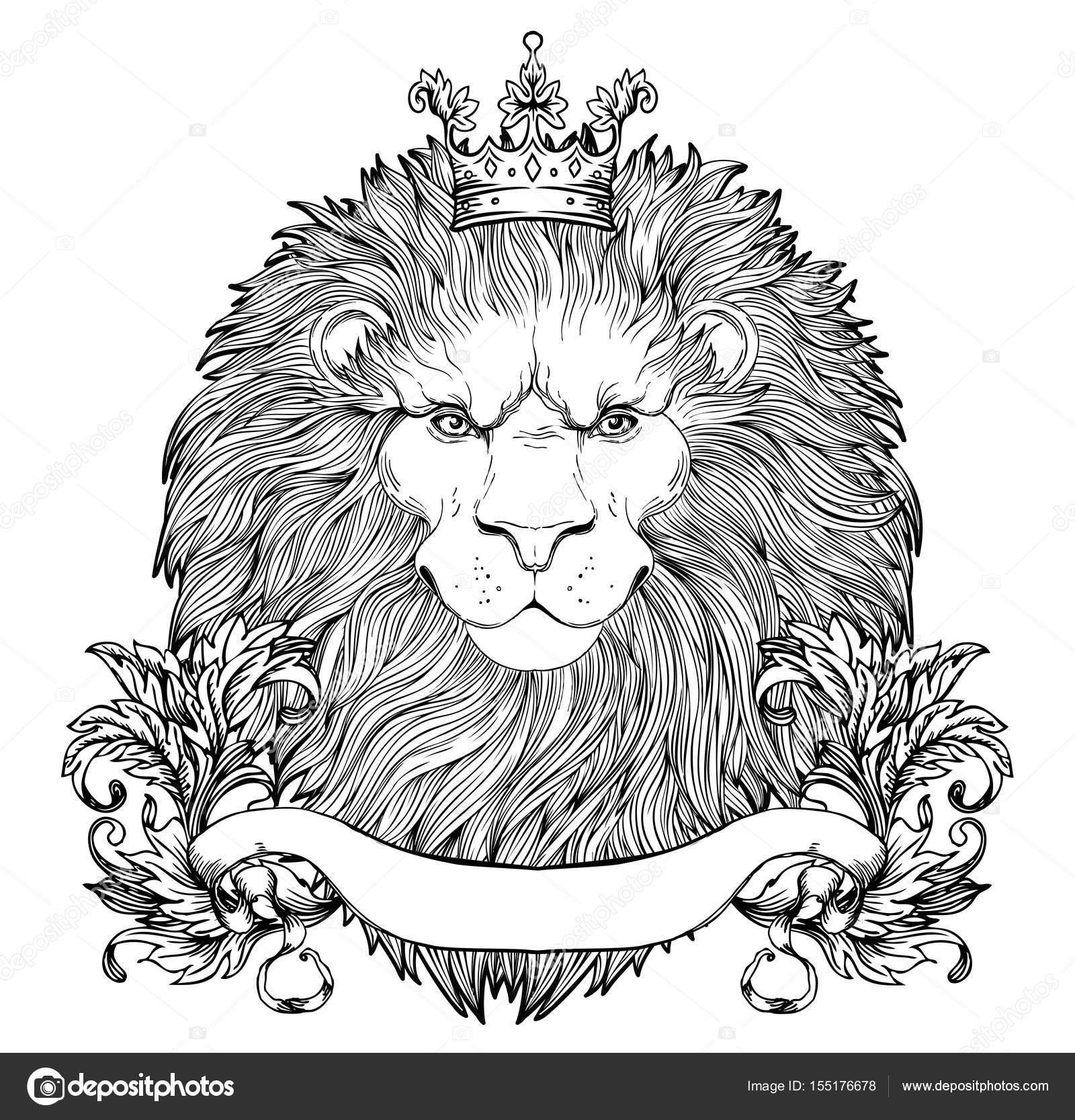 Kraliyet Tacı Olan Hanedan Aslan Kafasının Dekoratif Illüstrasyon
