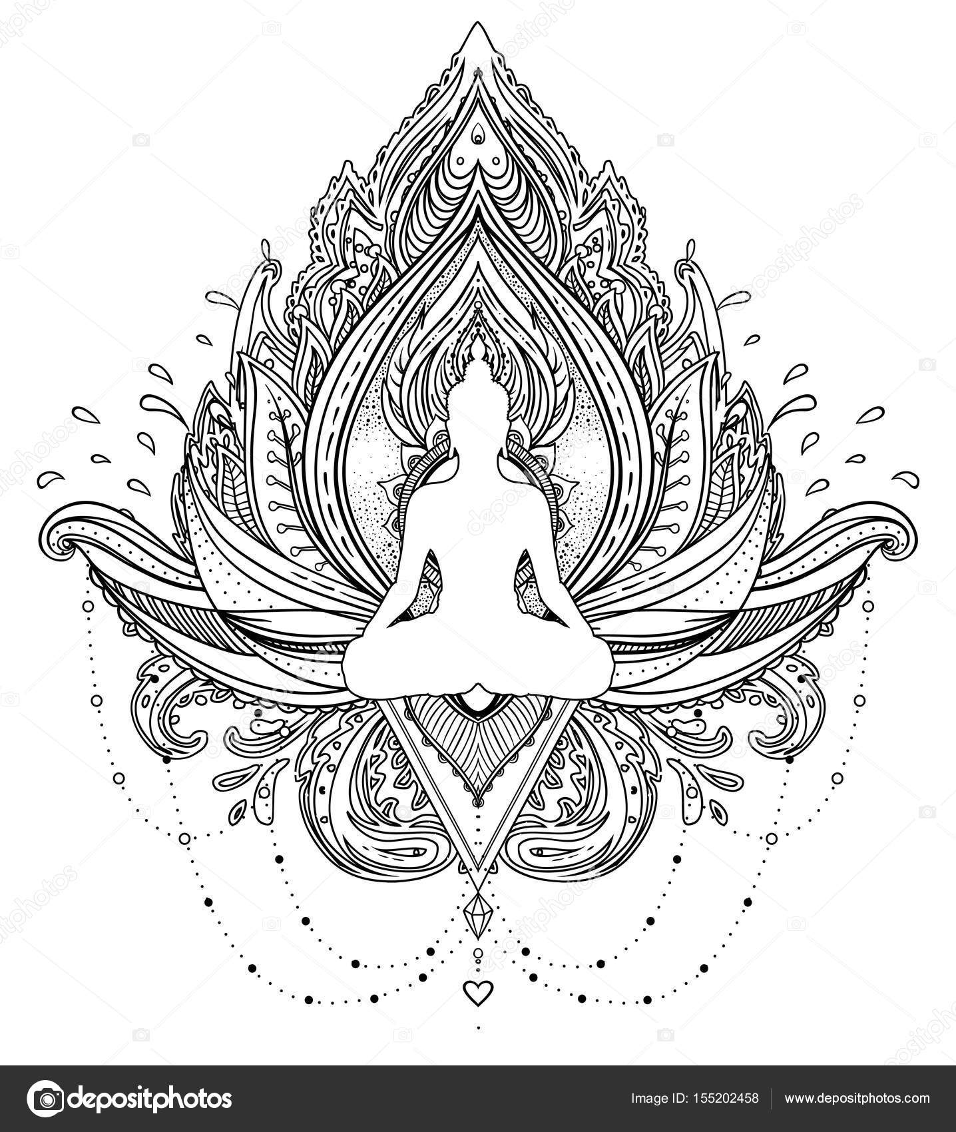 Imágenes Budas Para Imprimir Flor De Loto Ornamental Vector