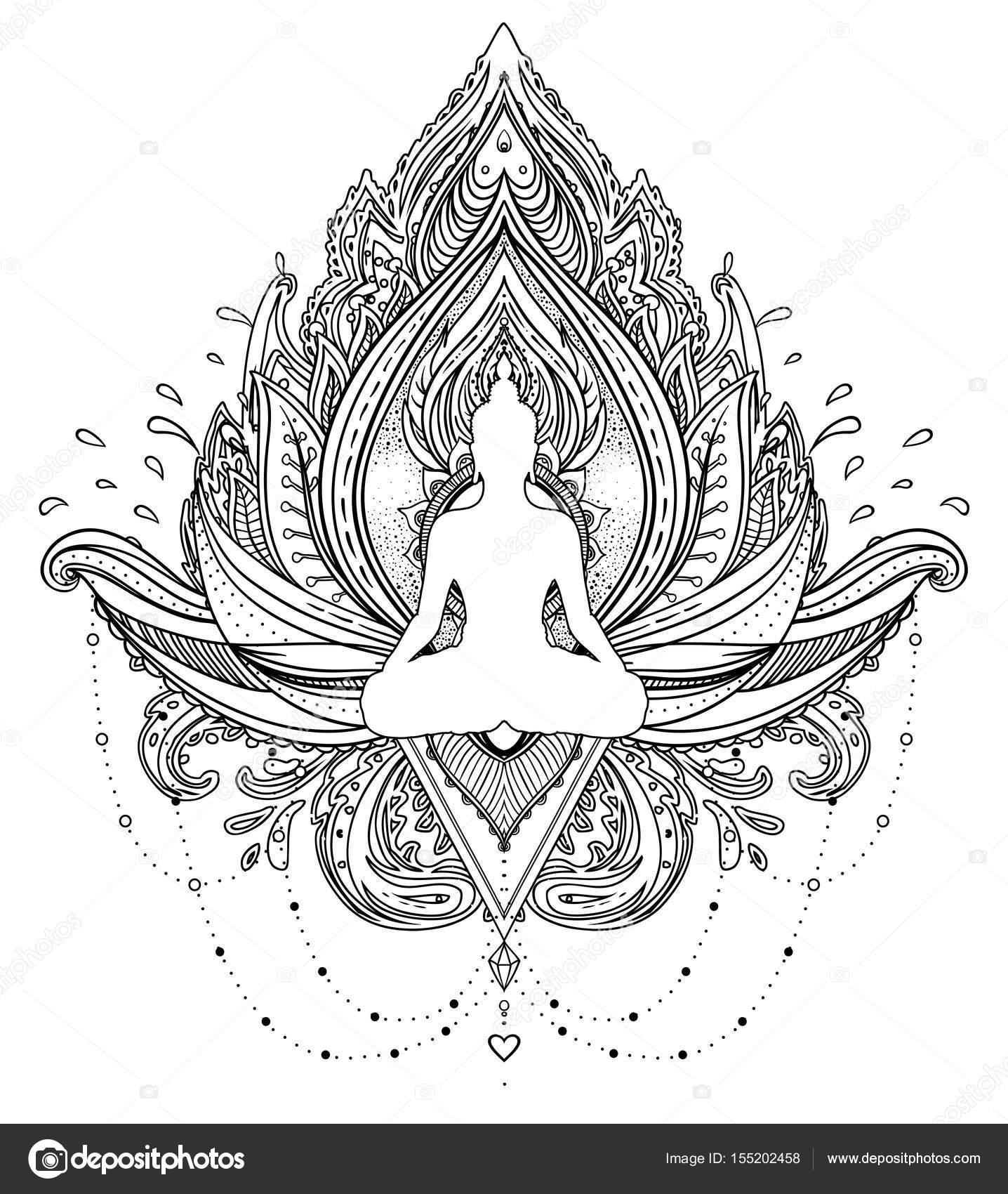 vector sier lotusbloem met silhouet van boeddha  etnische