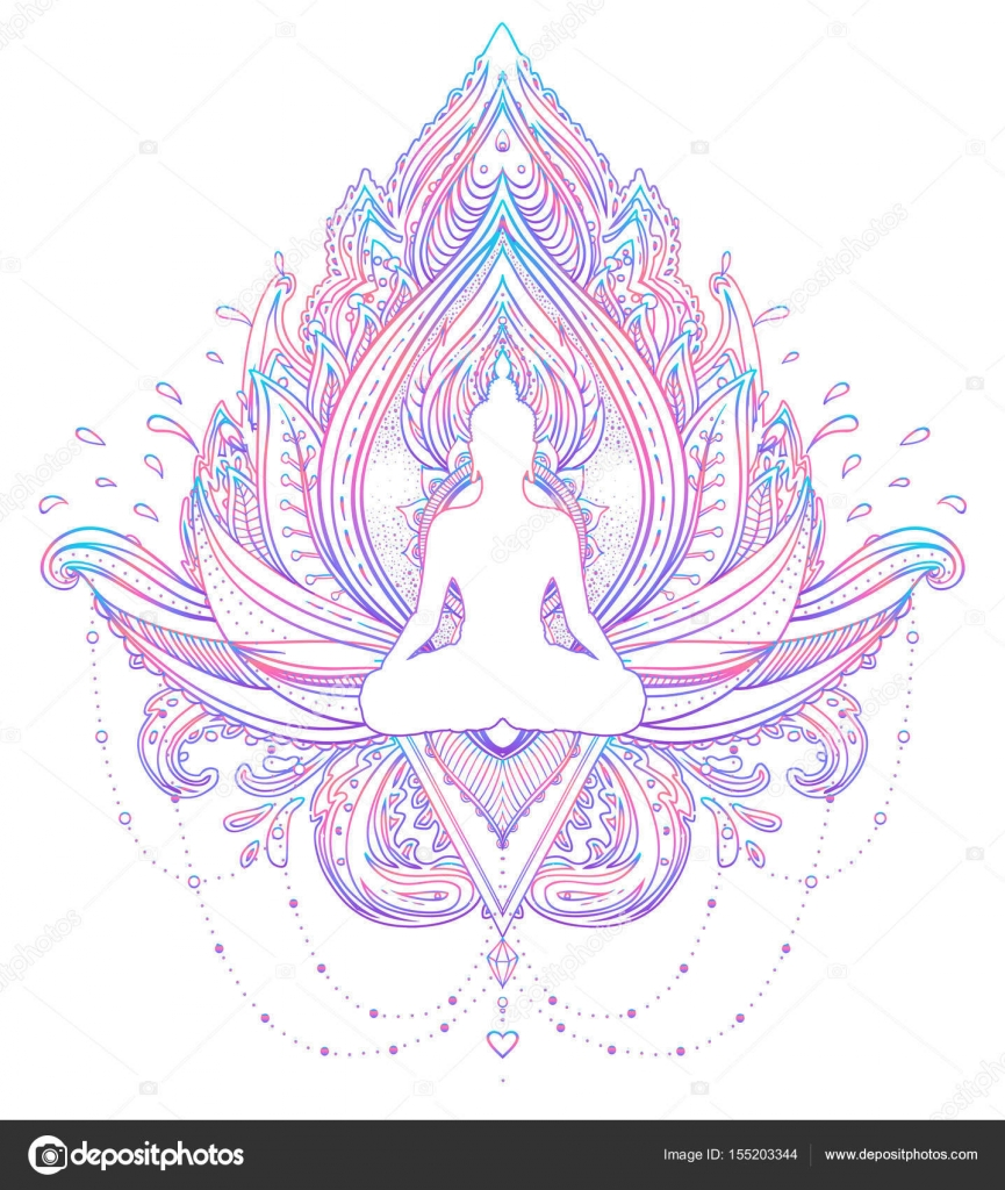 Sitting Buddha Silhouette Over Ornamental Lotus Flower