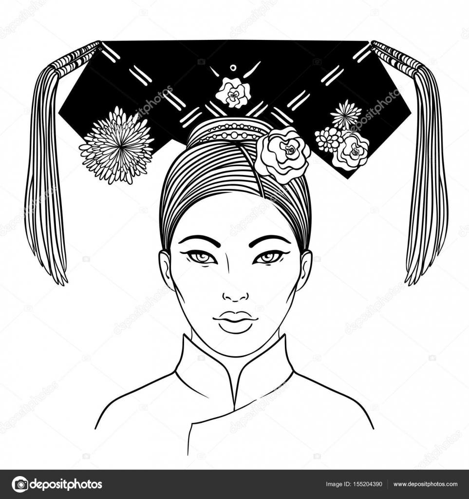Mandchourie Noble Femme Du Xixe Siecle La Dynastie Qing Typi