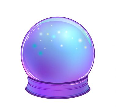 Crystal Ball with with rainbow moon and colorful stars isolated