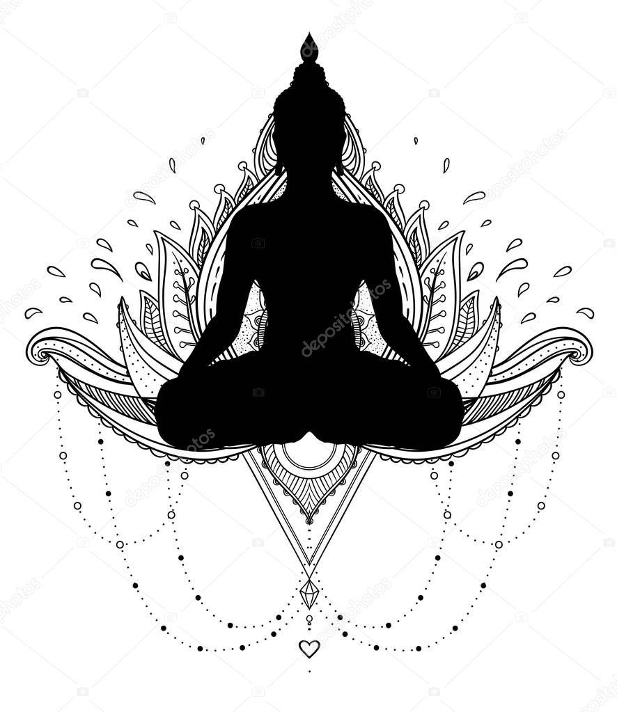 Vector ornemental fleur de Lotus avec la silhouette du Bouddha, ethnique — Image vectorielle ...