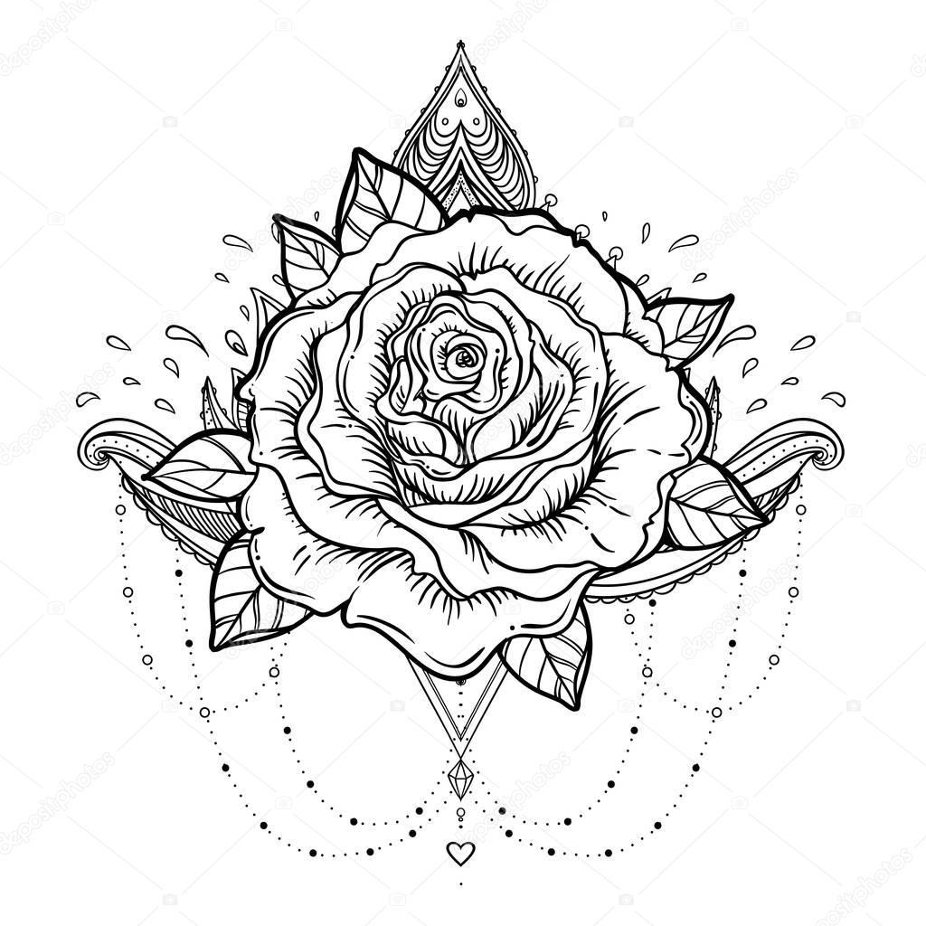 Tattoo Flash Art Black And White Guitar: Symbole De La Rose-Croix. Blackwork Tatouage Flash. All