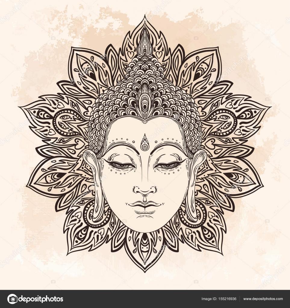 e9da1879cc6bf Buddha face in ornate mandala round pattern over beige vintage background. Esoteric  vintage vector illustration. Indian, Buddhism, spiritual art.