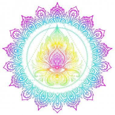 Sacred geometry symbol with all seeing eye in acid colors. Mysti