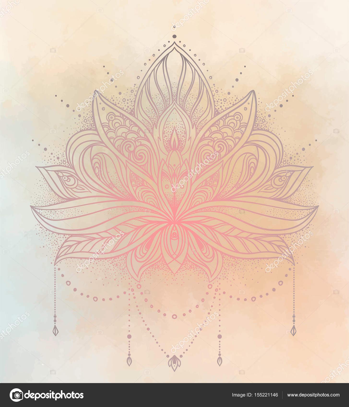 Vector Ornamental Lotus Flower Ethnic Art Patterned Indian Pai
