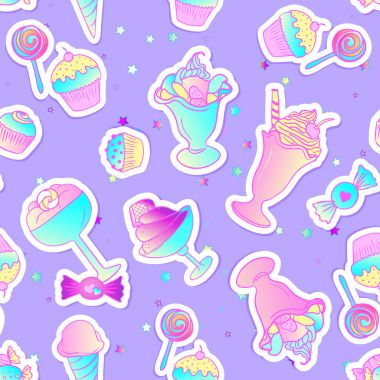 Bright colorful bakery and dessert pastry cute icons. Seamless p
