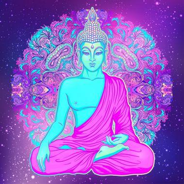 Sitting Buddha over sacred geometry background. Vector illustrat