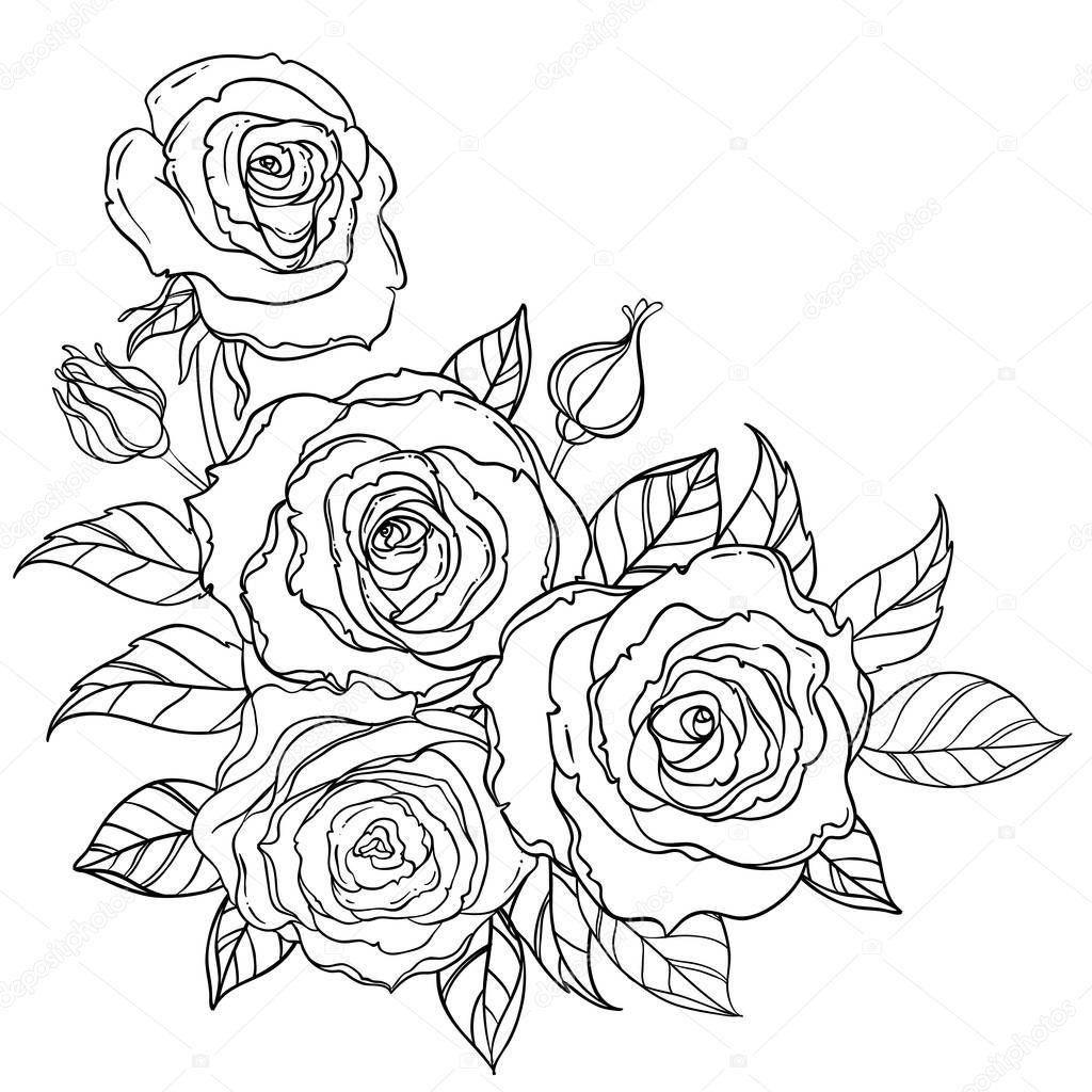 rosas de estilo de tatuagem preto e branco com folhas