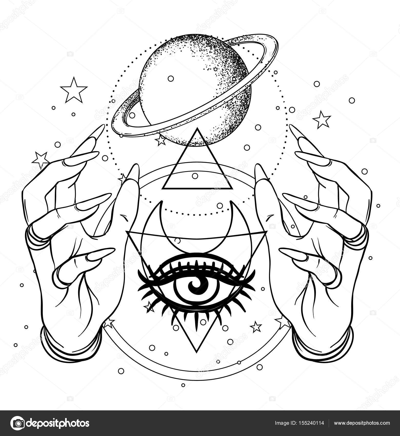 Human hand with space and sacred geometry symbols dotwork tatto dotwork tattoo flash design vector illustration isolated on white eye of providence masonic symbol all seeing eye sacred geometry occultism buycottarizona