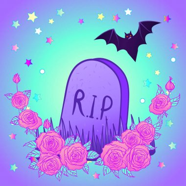 Tombstone, bat, roses. Glamour Halloween background in neon pastel colors. Cute gothic style. Colorful rainbow concept. stock vector