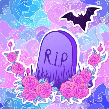Tombstone, bat, roses. Glamour Halloween background in neon past