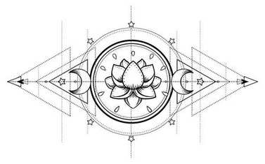 Lotus and Sacred Geometry. Ayurveda symbol of harmony and balance, and universe. Tattoo flesh design, yoga logo. Boho print, poster, t-shirt textile. Anti stress book. Isolated vector illustration. stock vector