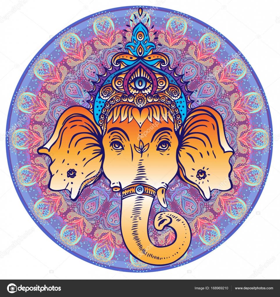 Imágenes Elefantes Hindues Coloridos Señor Hindú Ganesha Vector