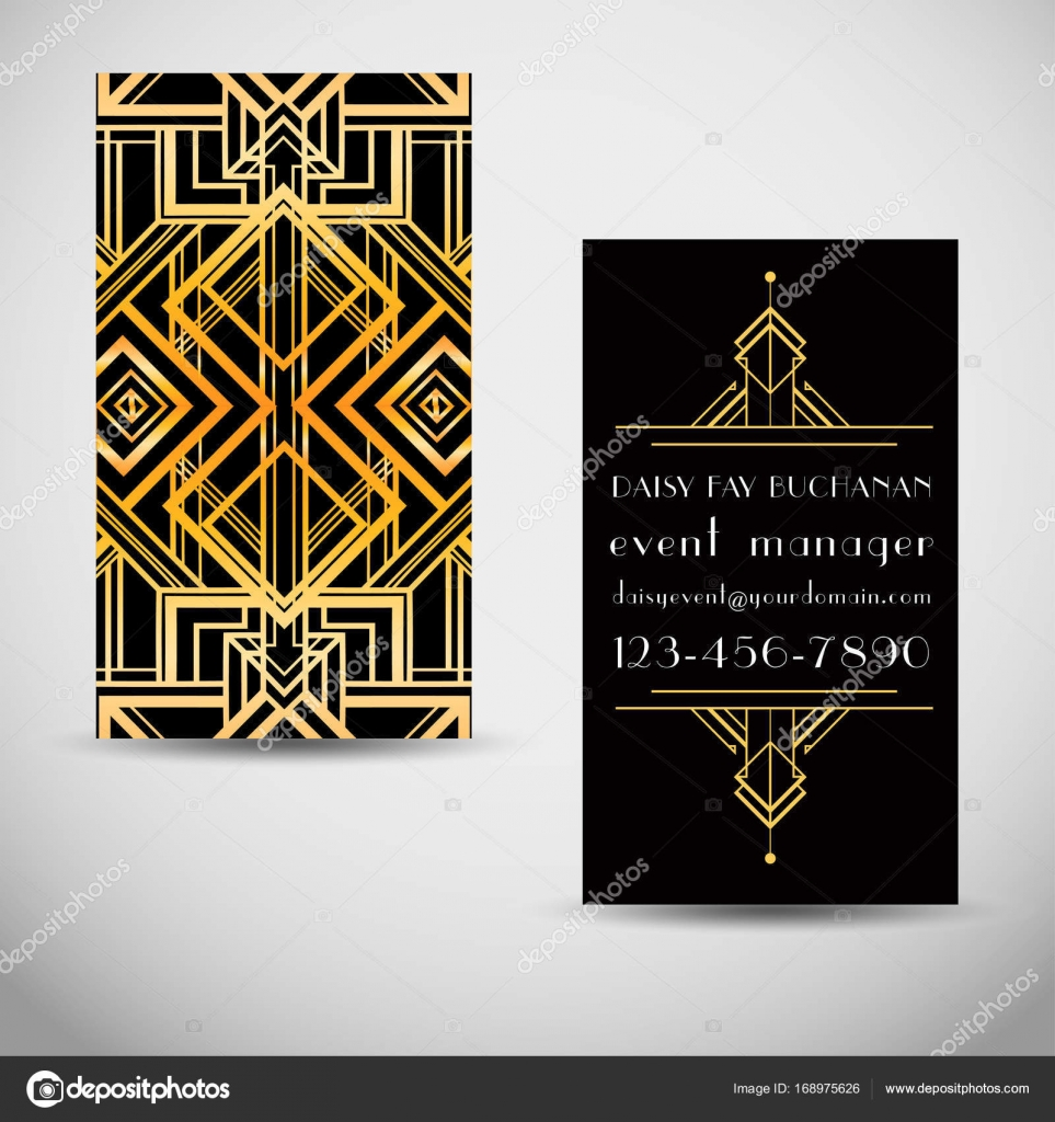 Art deco style business card stock vector vgorbash 168975626 art deco style business card template abstract vintage patterns and design elements retro party geometric background set 1920s style colourmoves