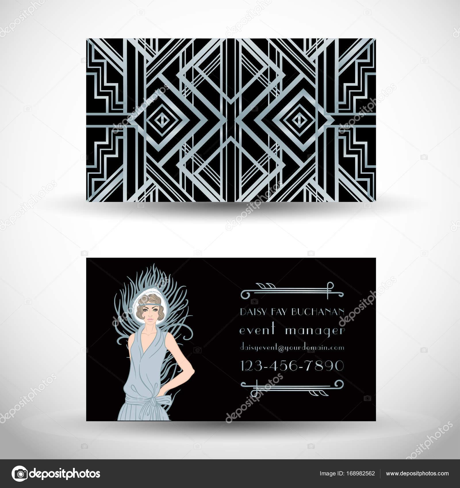 Tarjeta de visita de estilo Art deco — Vector de stock © vgorbash ...
