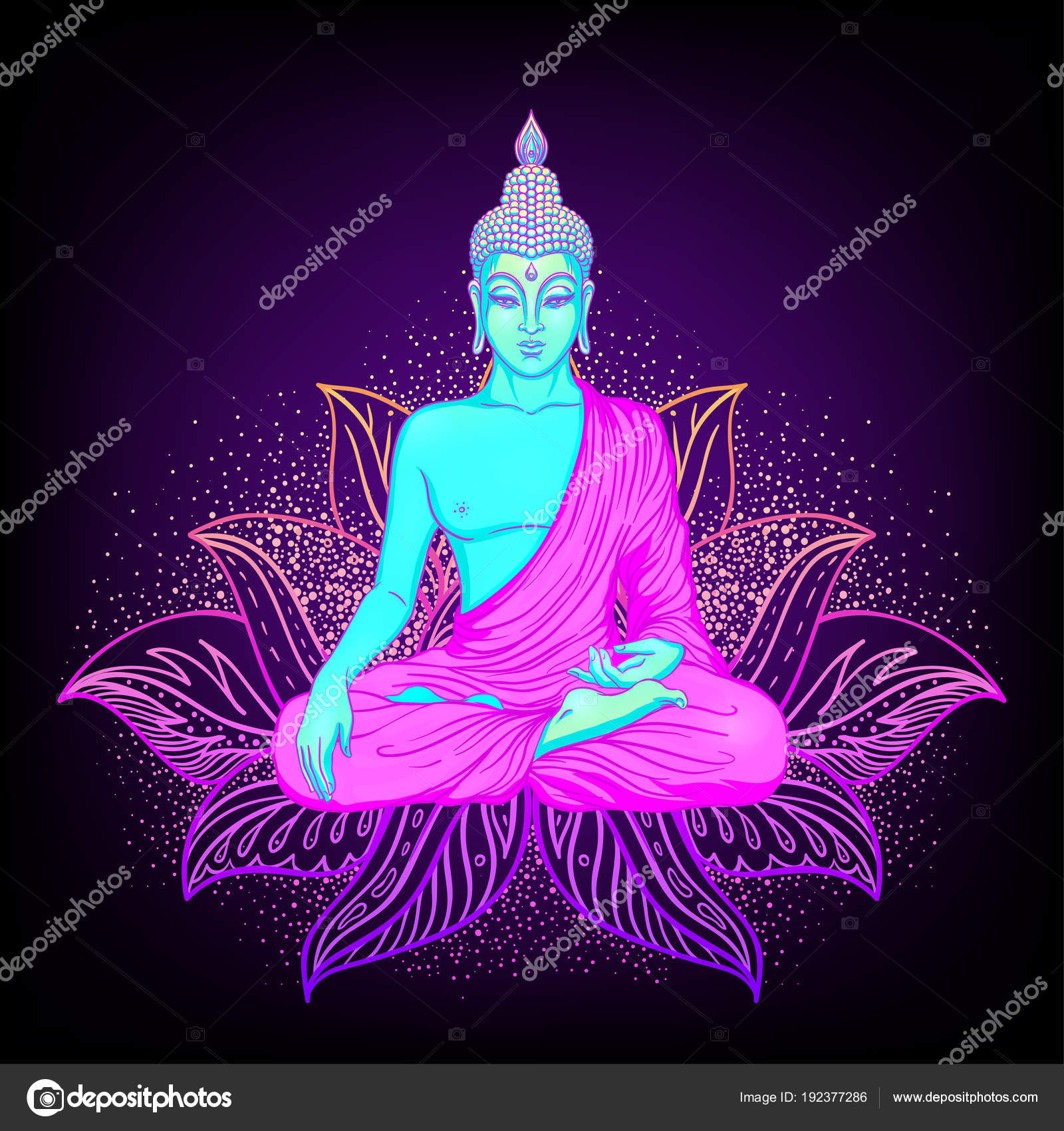 Sitting Buddha Silhouette Ornamental Lotus Flower Stock Vector