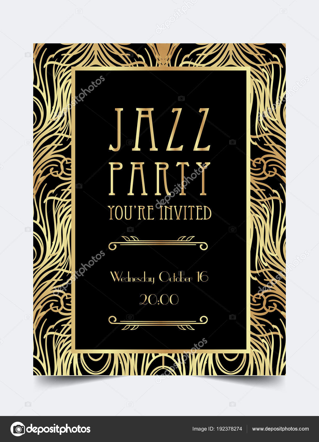 Art Deco Vintage Invitation Template Design Stock Vector