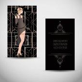 Fotografie Art-Deco-Stil-Visitenkarte im Art Deco Stil
