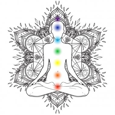 Silhouette in lotus position over decorative mandala round pattern with sacred geometry elements