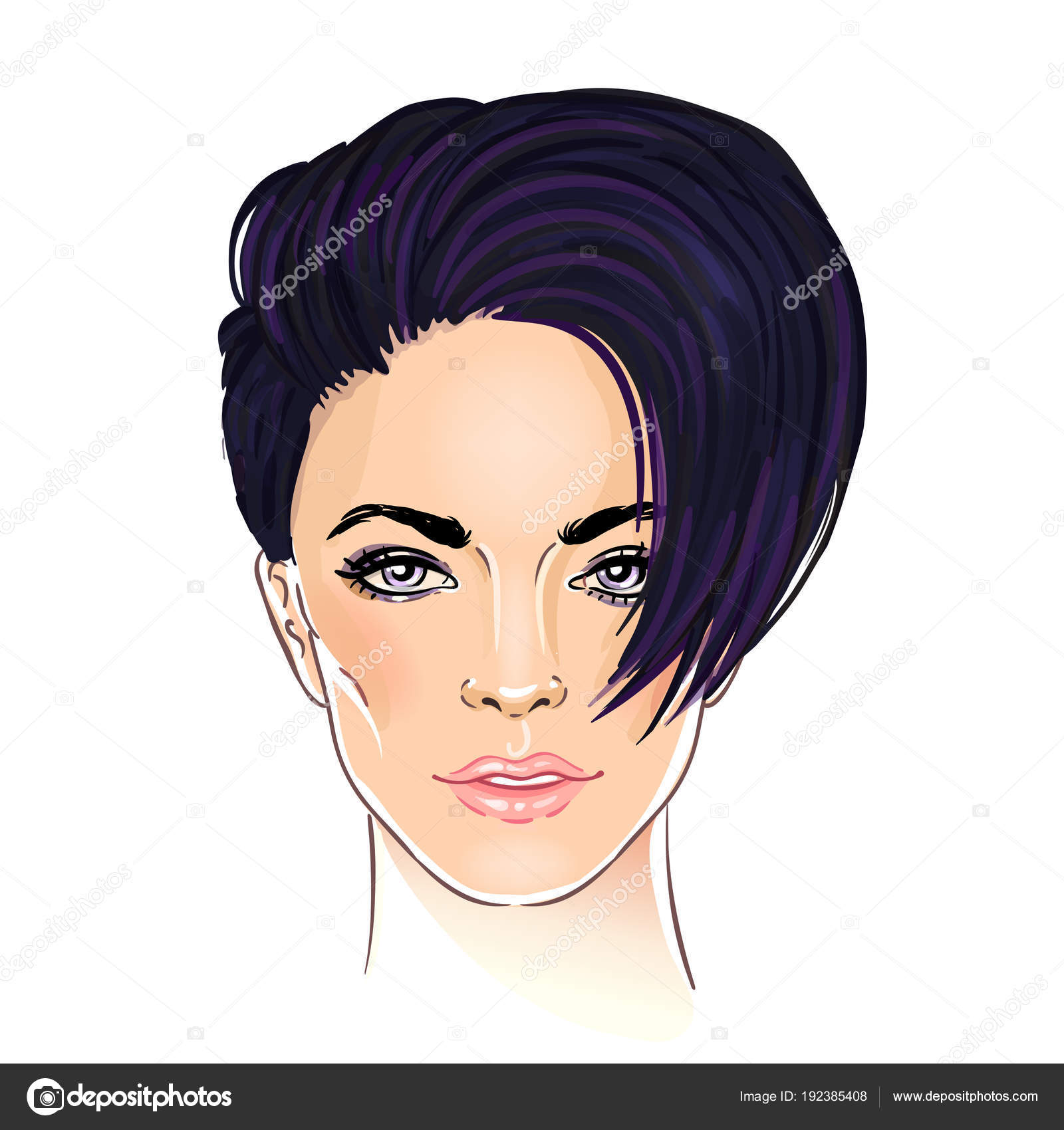 Portrait Young Woman Fashionable Short Pixie Haircut Stock Vector