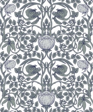 Floral vintage seamless pattern in mochrome