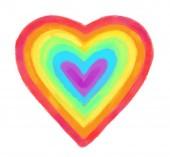Photo Rainbow heart isolated on white background