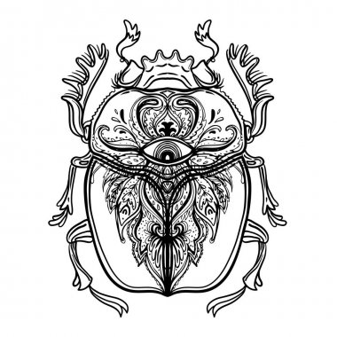 Scarabaeus sacer, Dung beetle. Sacred symbol of in ancient Egypt. Fantasy ornate insects. Isolated vector illustration. Spirituality, occult sun tattoo.