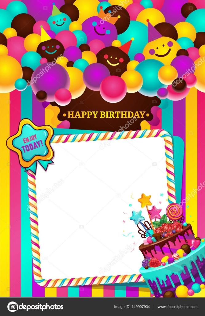 Marco de ilustración de vector de feliz cumpleaños — Vector de stock ...