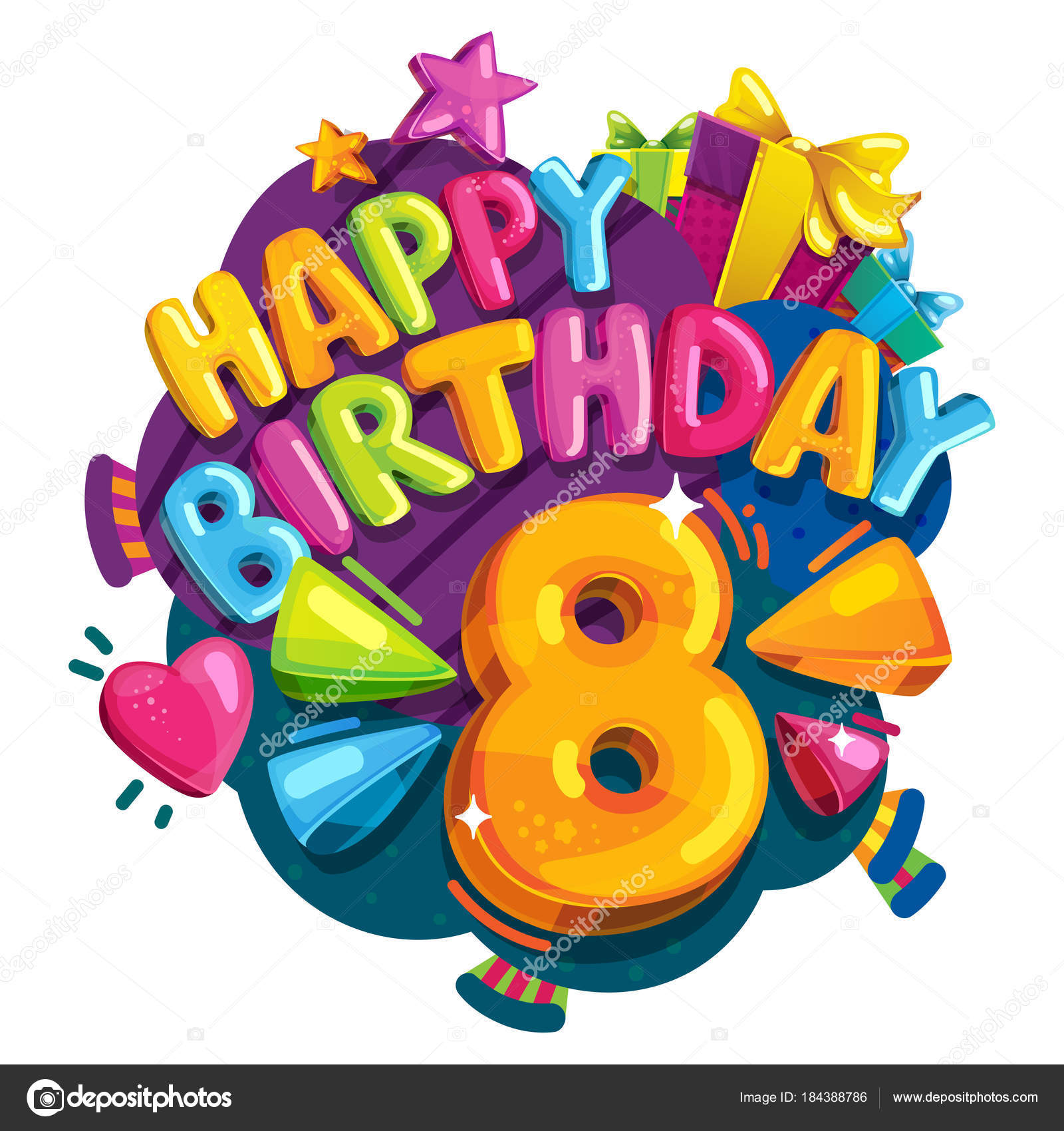 Buon Compleanno Anni Illustrazione Variopinta Festivo Party