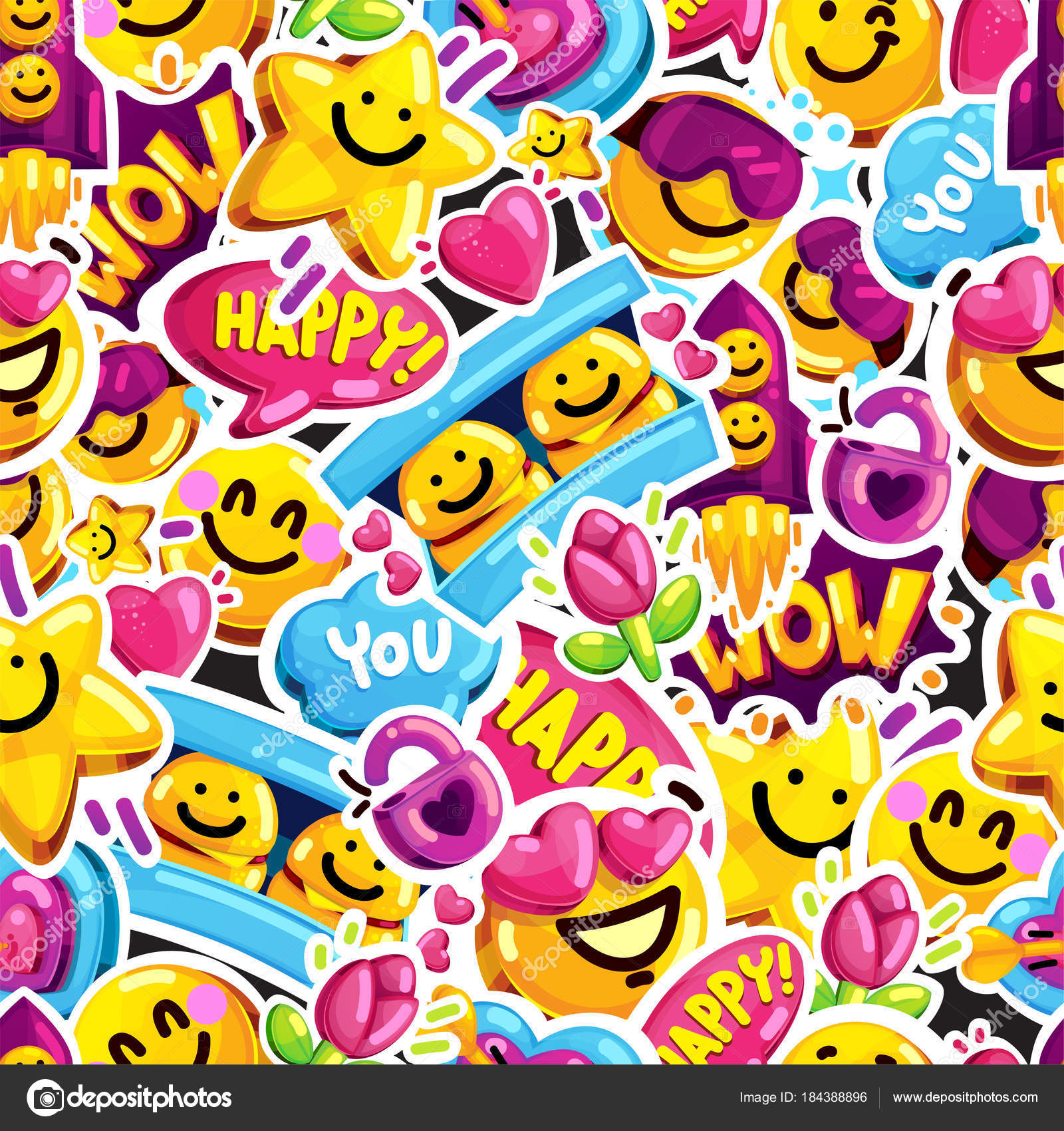 Smiley faces sticker emoji love seamless pattern cartoon vector smiley faces sticker emoji love seamless pattern cartoon vector youth fun message background vector by loveislove biocorpaavc