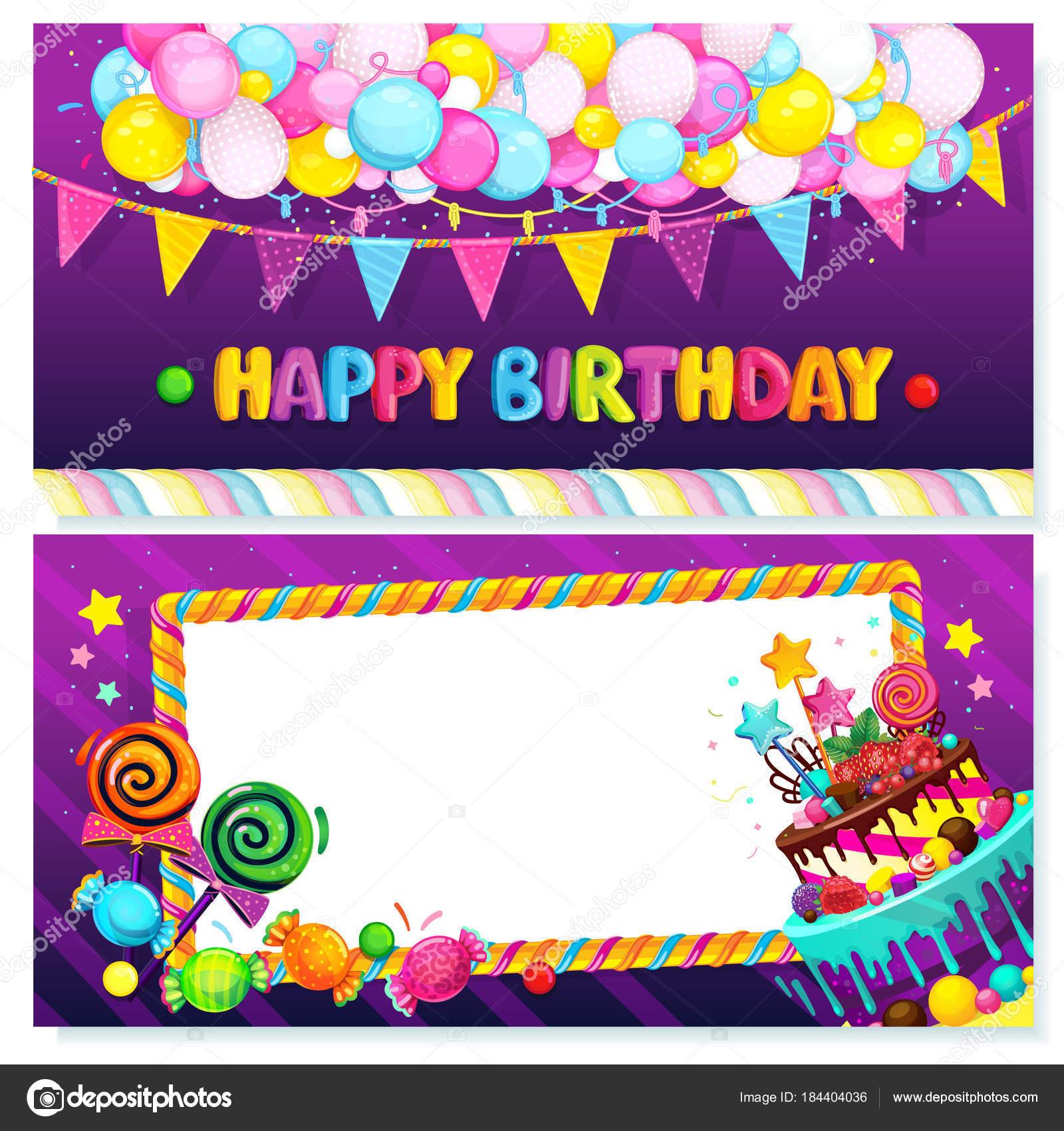 Postal Feliz Cumpleaños Ilustración Festivo Vector Globos Banderas ...