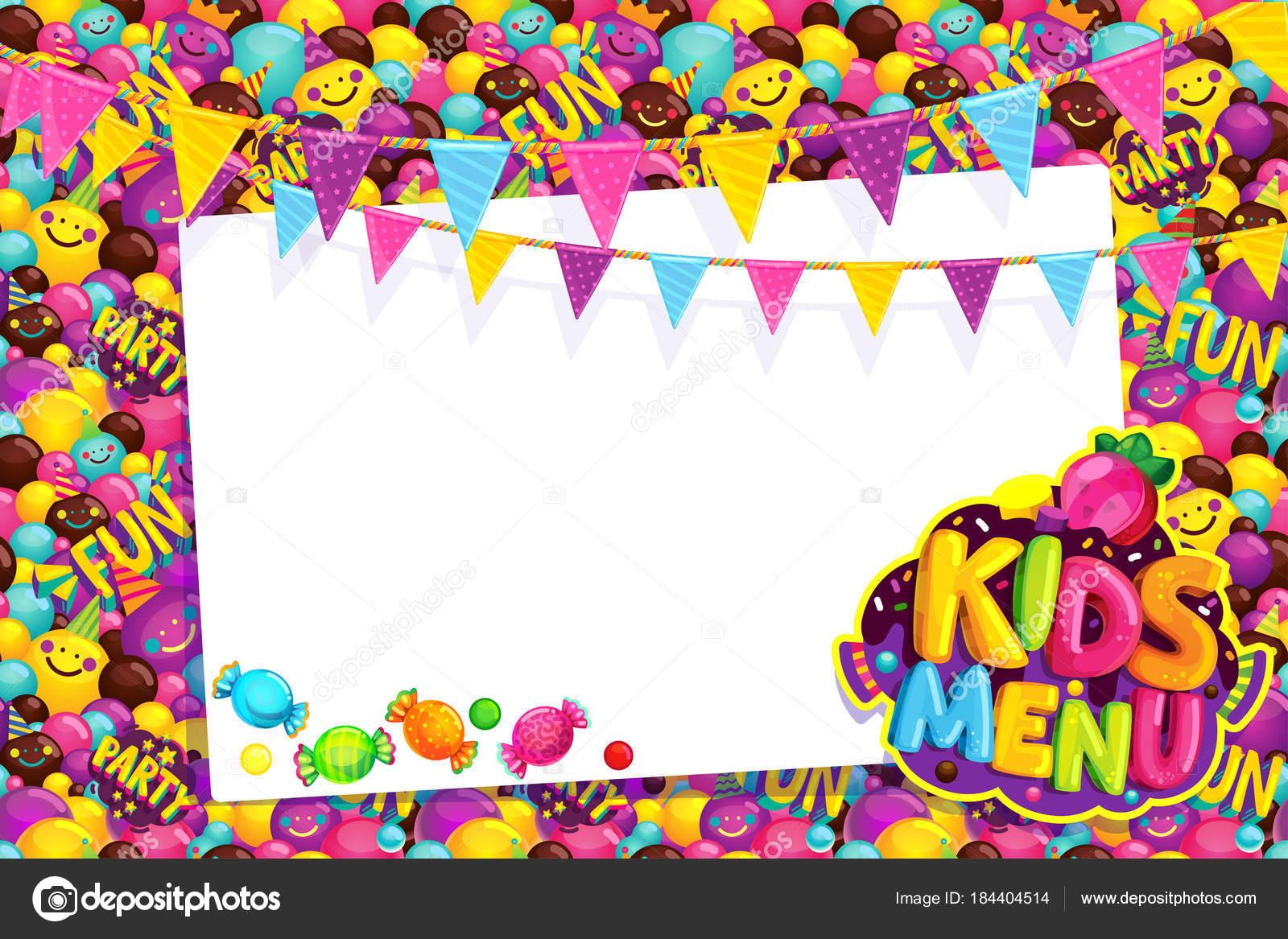 Kids Menu Card Frame Vector Illustration Happy Birthday Party