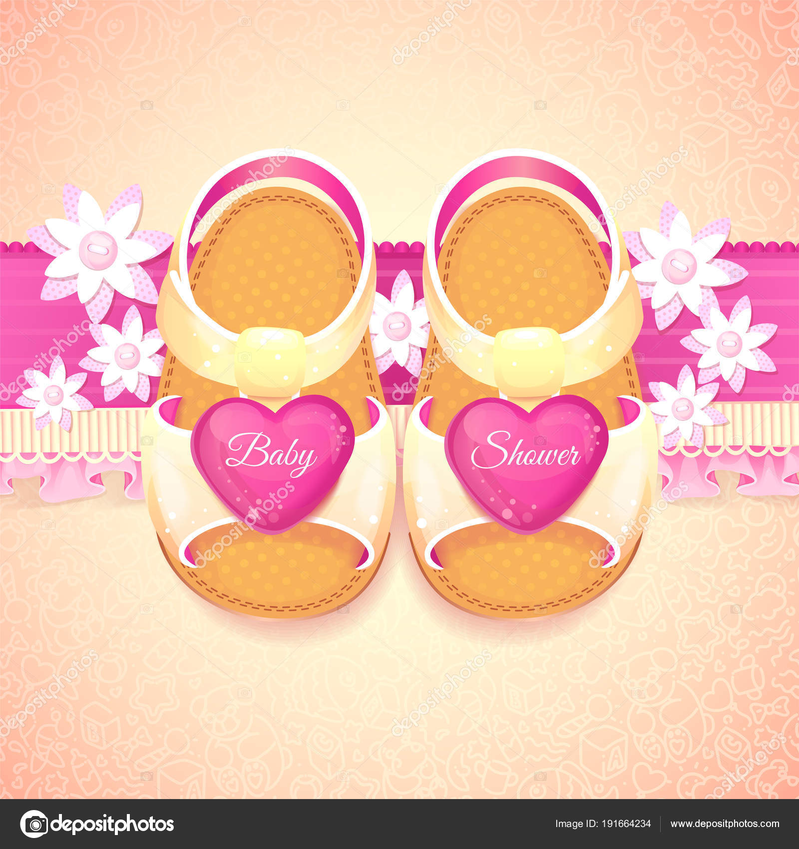 Baby Shower Baby Girl Pink Shoes Vector Illustration Children White